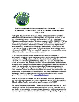 Written Statement of the Right to the City Alliance Submitted to the House Financial Services Committee