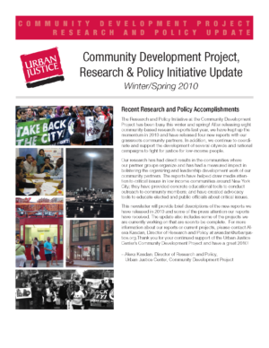 CDP Research and Policy Update Winter/Spring 2010