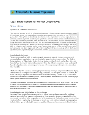 Legal Entity Options for Worker Cooperatives
