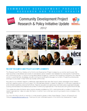 Community Development Project Research and Policy Initiative Update 2012