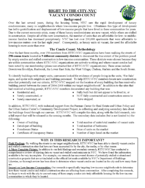 NYC Preliminary Findings for Condo Canvass Research