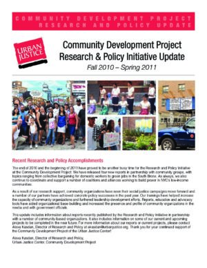 CDP Research and Policy Update Fall 2010 – Spring 2011