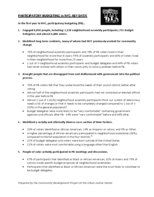 Participatory Budgeting Data Summary