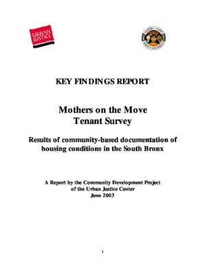 Key Findings Report: Mothers on the Move Tenant Survey,