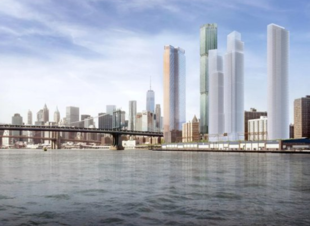 A rendering of what the four towers in Two Bridges would look like on the East River.
